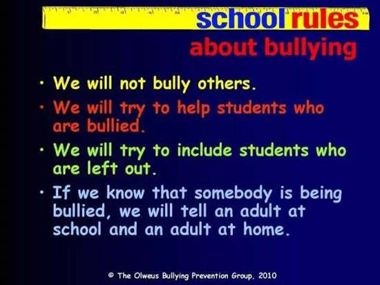 美国小学会在很多公开环节强化反校园霸凌规则 4、创造安全的环境。(Build a Safe Environment ) 努力创造接受、包容和尊敬的学校文化。美国学校会利用各种形式来营造正向的氛围,包括校职工会议、全校集会、班级和家长会议、学校官方致家长信件、学校官网、学生手册等。